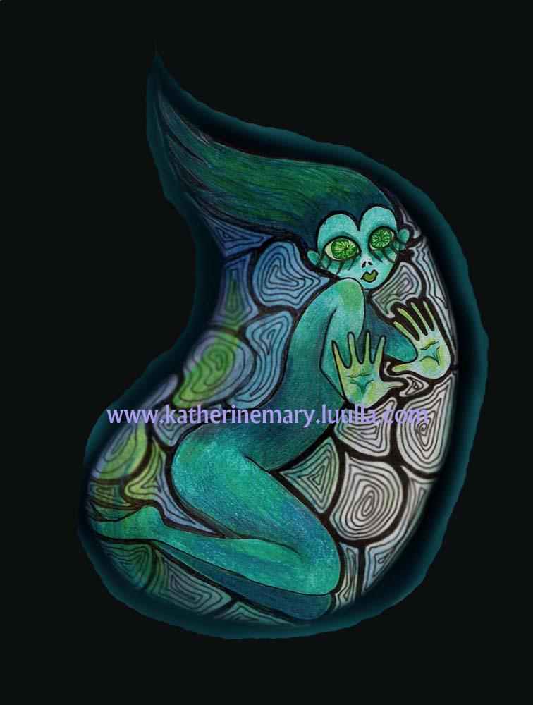 Fantasy Fairy 5 x 7 art print faery dark blue green black big eye weird strange drawing illustration creepy