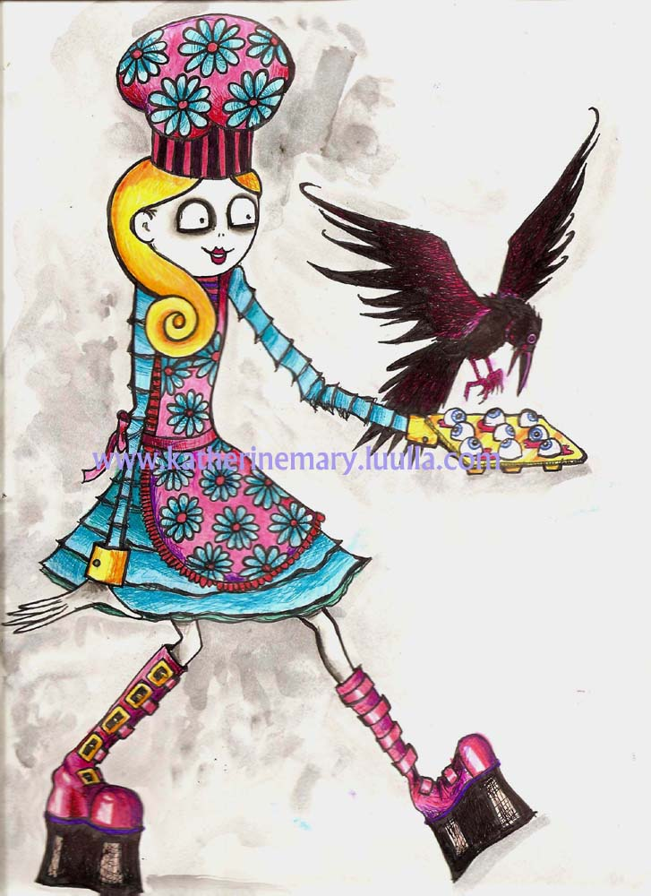 Goth Art Print 5 x 7 creepy weird crazy girl drawing painting illustration big eye eyeballs baking creepy-cute pink blue colorful strange