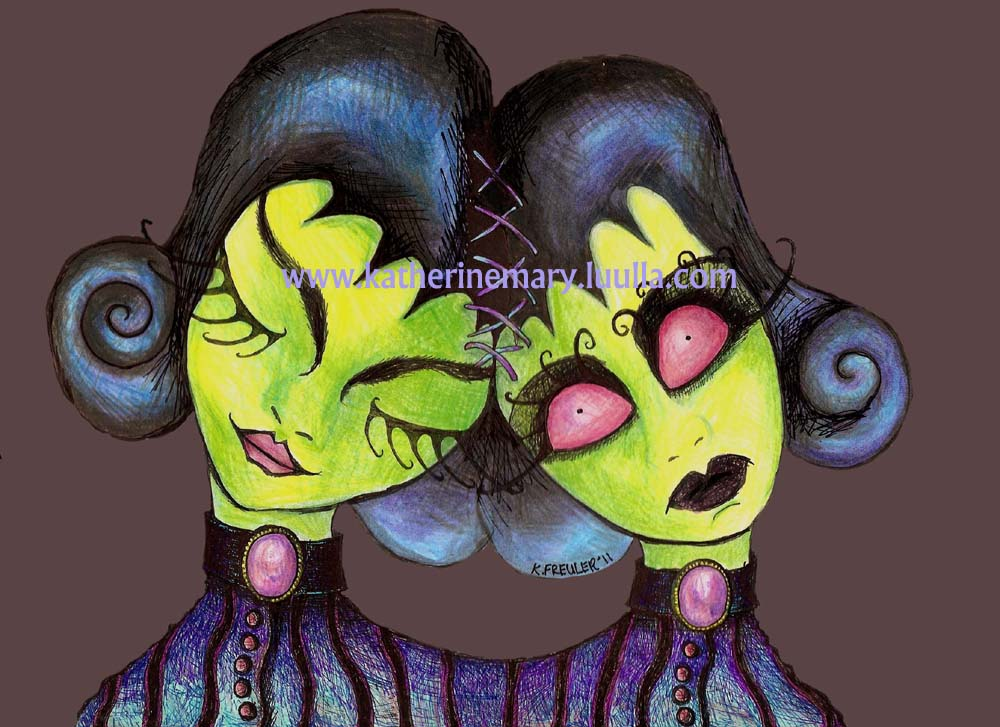 siamese twins 5 x 7 art print zombies dark fantasy fairy faery creepy gothic painting goth spooky hallowe'en bipolar gore horror
