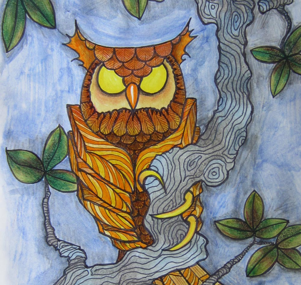 owl art print 11 x 17 poster illustration gold yellow orange picture art woodland animal forest drawing bird